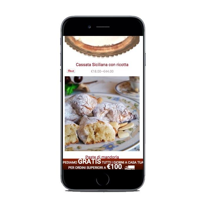 creazione siti web smartphone pasticceria Palummo